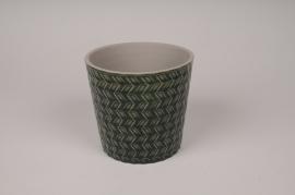 A026J6 Cache-pot en céramique vert avec motifs D13.5cm H12.5cm