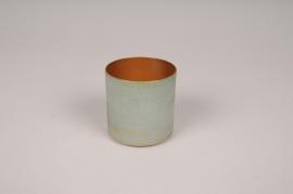 A026JY Cache-pot en métal vert D6.5cm H6.5cm