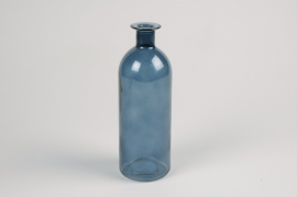 A026NH Blue glass bottle vase D7cm H20cm