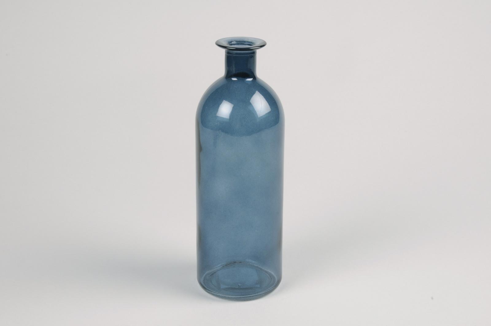 A026NH Vase en verre bouteille bleu D7cm H20cm