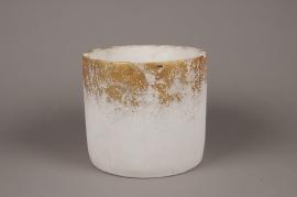 A026OZ White ceramic planter D22cm H20cm