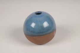 A026QS Vase soliflore en céramique bleu D9.5cm