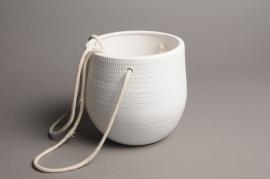 A026T3 Cache-pot céramique à suspendre blanc D15cm H15cm