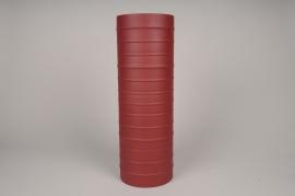 A026U9 Vase cylindre en métal rouge D15cm H45cm
