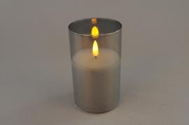 A027A1 Photophore en verre fumé LED D7.5cm H12.5cm