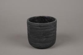 A027AC Cache-pot en béton strié gris anthracite D14cm H13cm