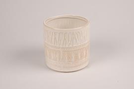 A027BJ Cache-pot en céramique blanc D12.5cm H12.5cm