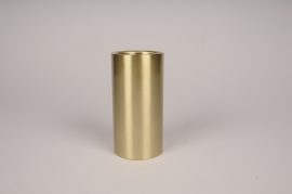 A027E0 Bougeoir cylindre métal or D7.5cm H15cm