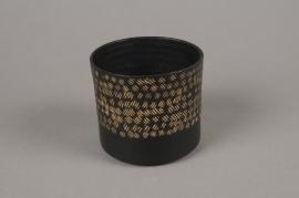 A027E5 Cache-pot en métal noir D9cm H8cm