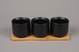 A027HX Trio de cache-pot en céramique noir avec plateau