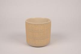 A027I4 Cache-pot en céramique taupe D13.5cm H13cm