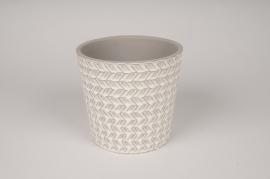 A027J6 Cache-pot en céramique blanc avec motifs D13cm H12.5cm