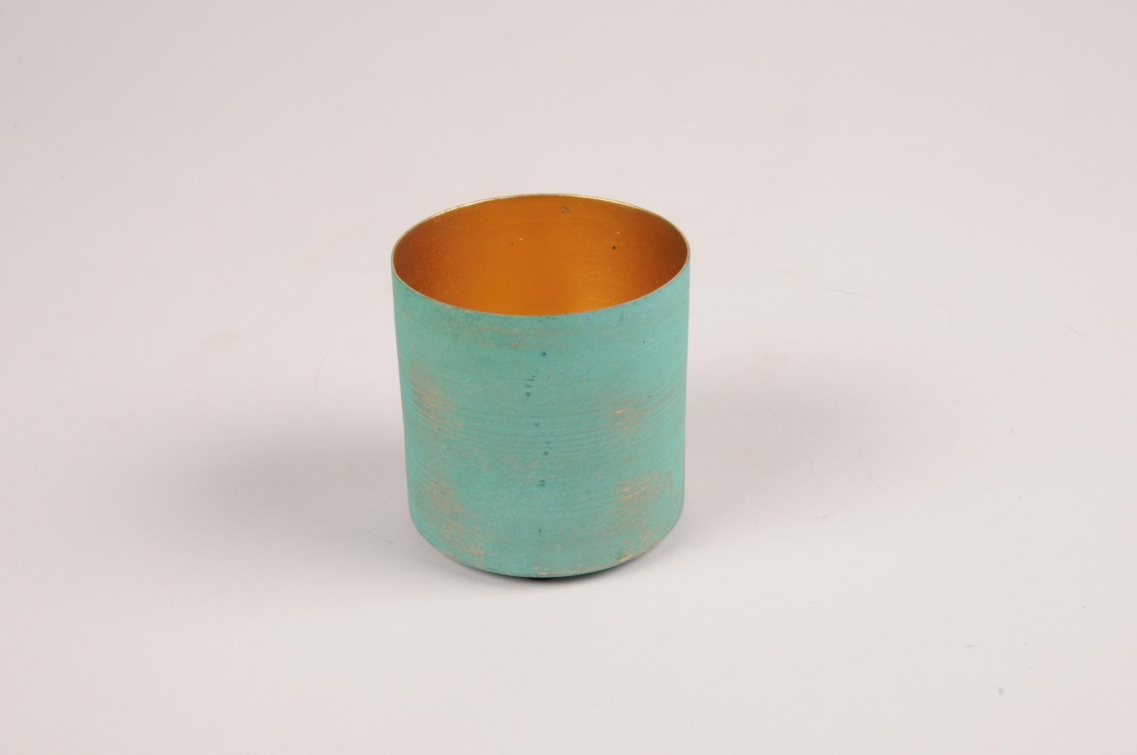A027JY Green blue metal planter D6.5cm H6.5cm