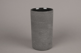 A027N8 Vase en terre cuite gris D12cm H22cm