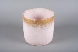 A027OZ Pink ceramic planter D22cm H20cm