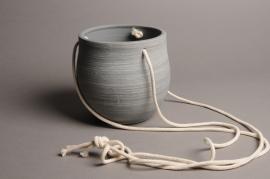 A027T3 Cache-pot céramique à suspendre gris D15cm H15cm