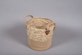 A027U7 Wicker and jute baskets D26cm H28cm