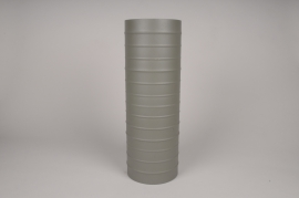 A027U9 Green khaki metal vase D15cm H45cm