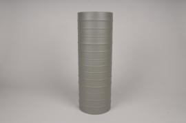 A027U9 Vase cylindre en métal vert kaki D15cm H45cm