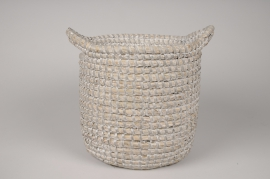 A027UV Grey weaved baskets planter D25cm H24cm