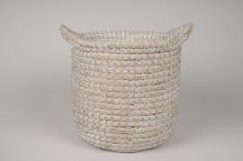 A027UV Grey weaved baskets planter D25cm H24cm