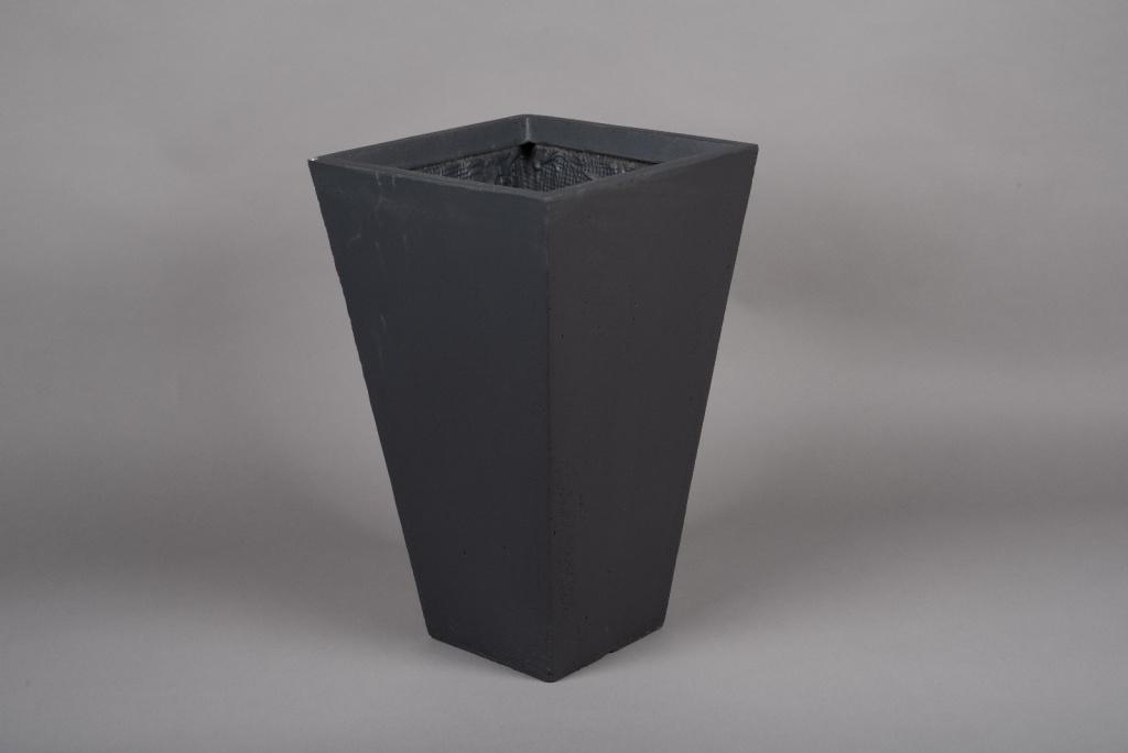 A027VV Pot fibre gris anthracite 32x32cm H53cm