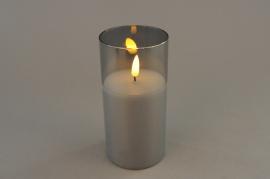 A028A1 Photophore en verre fumé LED D7.5cm H15cm