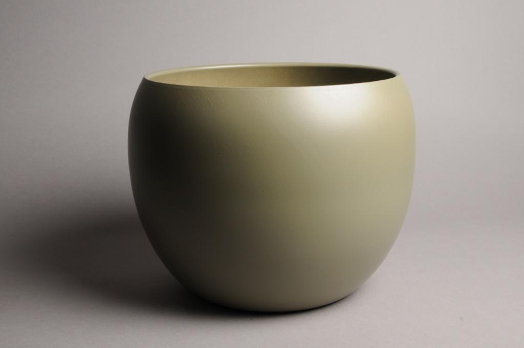 A028A8 Cache-pot céramique boule kaki D31cm H25cm