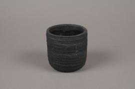 A028AC Cache-pot en béton strié gris anthracite D11cm H11cm