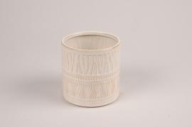 A028BJ Cache-pot en céramique blanc D10.5cm H11cm