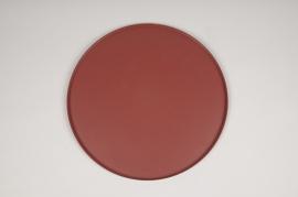 A028CC Pink metal tray D29.5cm