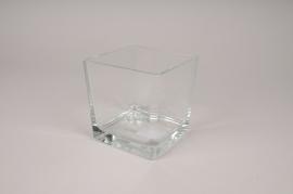 A028DQ Vase en verre cube 11.5x11.5cm H12cm