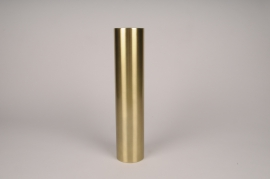 A028E0 Bougeoir cylindre métal or D7.5cm H34.5cm
