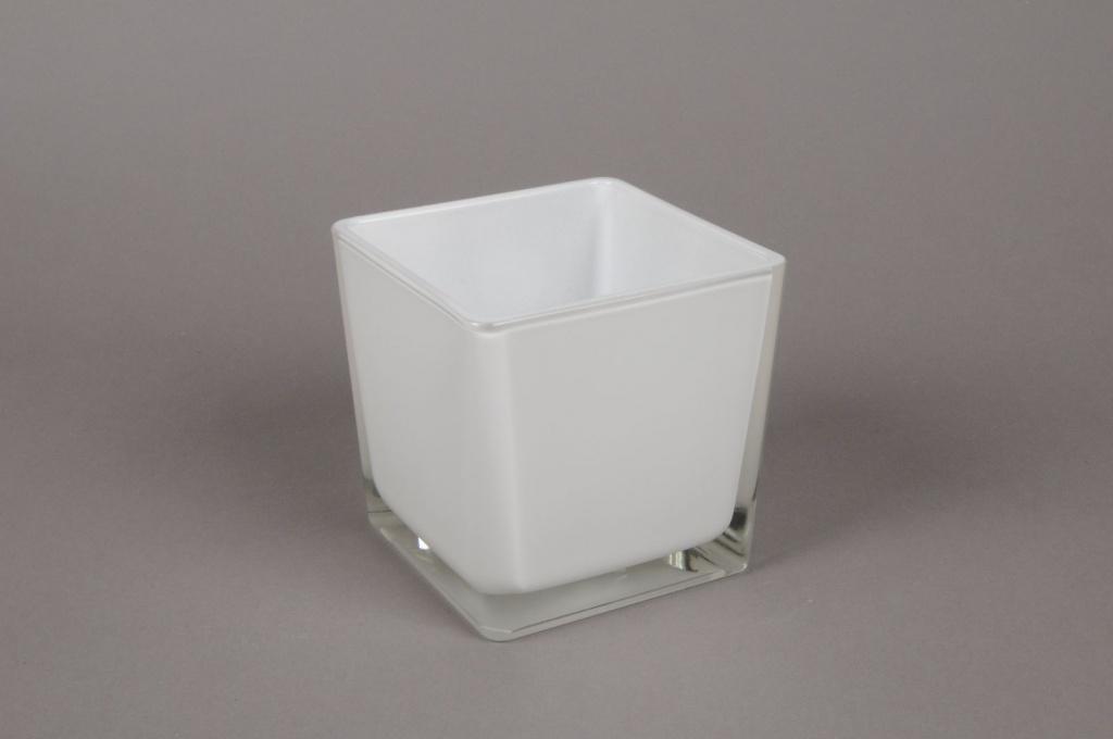 A028I0 Vase en verre blanc 10x10x10cm