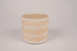 A028I4 Cache-pot en céramique crèmeD13.5cm H13cm