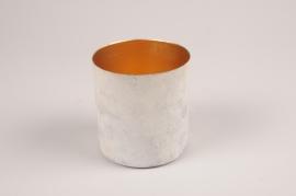 A028JY Cache-pot en métal blanc gris D9.5cm H10cm