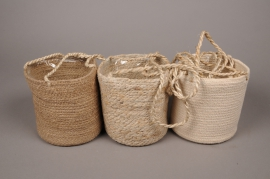 A028LE Suspending assorted hessian planter D16cm H16cm