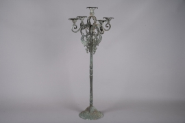 A028N9 Aged grey metal candelabra 5 branchs H110cm