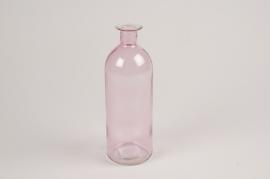 A028NH Vase en verre bouteille rose D7cm H20cm