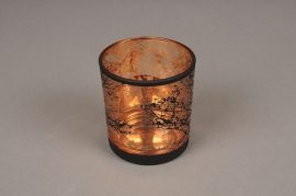 A028P5 Copper and black glass light holder D7.5cm H8cm