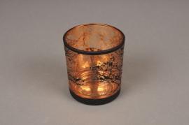 A028P5 Photophore en verre cuivre et noir D7.5cm H8cm