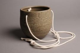 A028T3 Cache-pot céramique à suspendre taupe D15cm H15cm