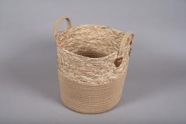 A028U7 Wicker and jute baskets D35cm H34cm
