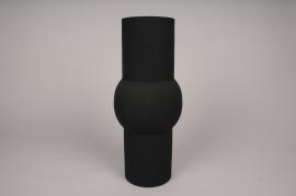 A028U9 Vase cylindre en métal noir D11cm H36cm
