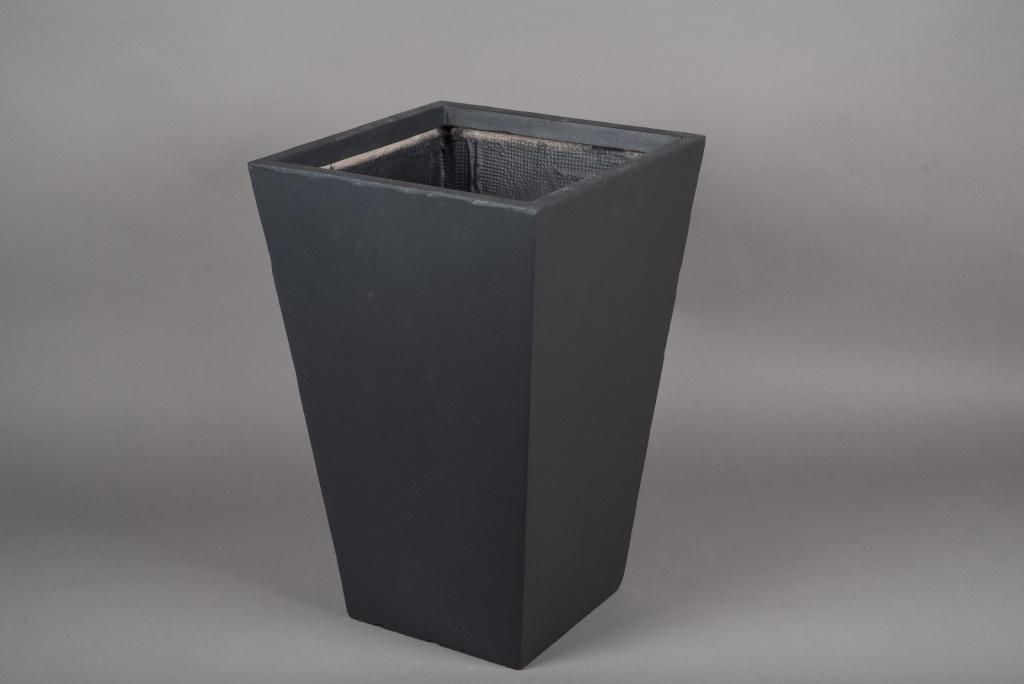 A028VV Pot fibre gris anthracite 40x40cm H60cm