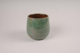A028XD Cache-pot en céramique vert D16cm H15cm