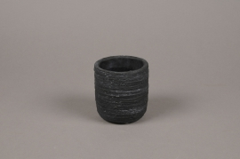 A029AC Black striated concrete planter D8cm H9cm