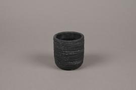 A029AC Cache-pot en béton strié gris anthracite D8cm H9cm