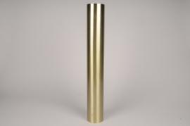 A029E0 Bougeoir cylindre métal or D7.5cm H54.5cm