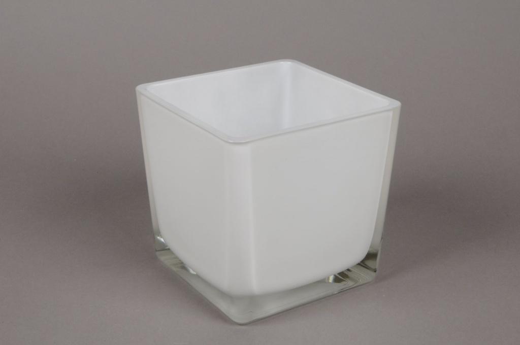 A029I0 Vase en verre blanc 12x12cm H12cm